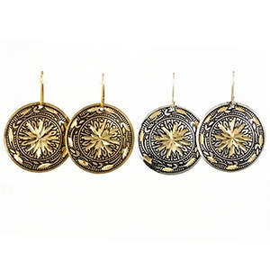 India Earrings - Diamond Cut Medallion Silver and Gold-tone