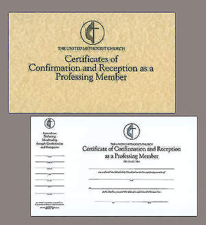 United Methodist Confirmation and Reception Flat Certificate (Pad of 26)