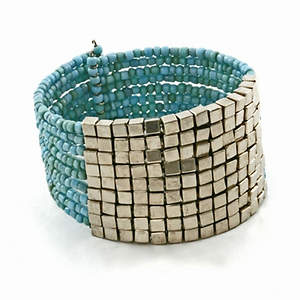 Java Bead and Metal Cuff Bracelet - Turquoise