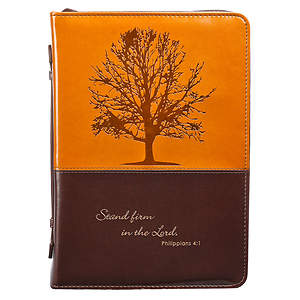 Bible Cover Luxleather Tree Dark Brown Brown Large