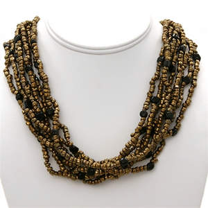 Java Beaded Necklace - 12-strand  Bronze and Black
