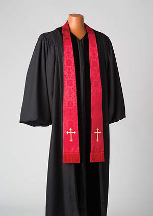 Silk Red Latin Cross Stole