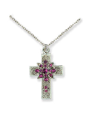 Cross  Pendant with Amethyst Stones