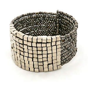 Java Bead and Metal Cuff Bracelet - Platinum
