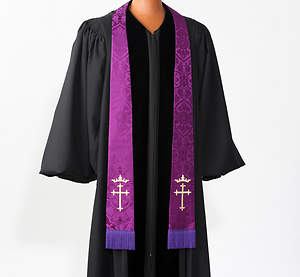 Silk Purple Cross and Crown Stole