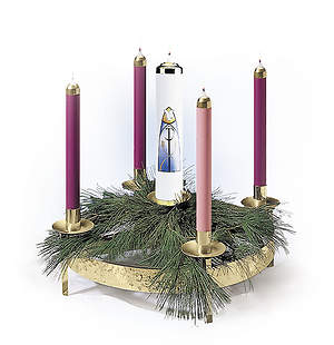 5 Light Single Ring Hammered Brass Advent Wreath