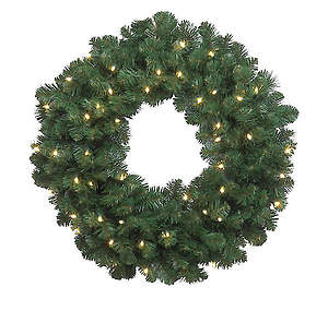 Oregon Fir Wreath 36in With 100 Clear Incandescent Lights
