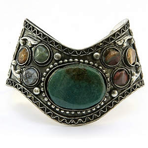 India V Cuff Bracelet - Multi-Agate  Adjustable