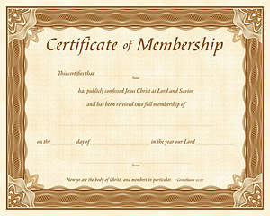 Certificate of Membership Package of 6