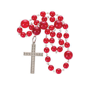 Anglican Prayer Beads with Square Design Silver-Plated Latin Cross