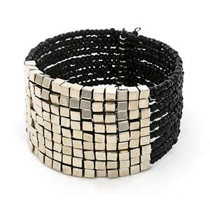 Java Bead and Metal Cuff Bracelet - Black