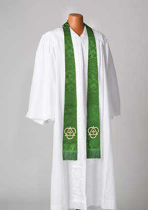 Silk Green Cross and Triangle Stole