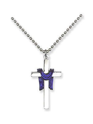 Silver Cross Pendant with Purple Pall