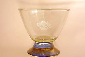 Baptismal Bowl on Pedestal Earthenware Glass Blue