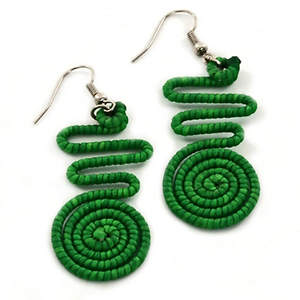 Thai Wavy Circle Earrings - Green