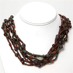 Java Beaded Necklace - 6-strand Rose