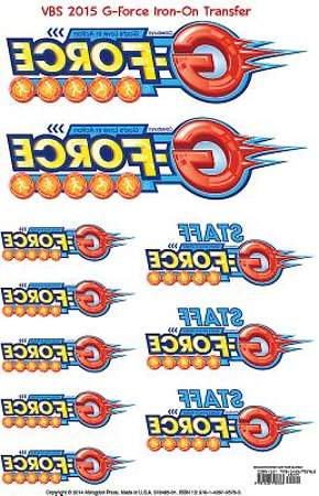 Vacation Bible School (VBS) 2015 G-Force Iron-On Transfers