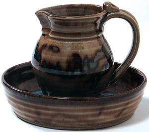 Pitcher and Basin Footwashing Miniature Tan Earthenware