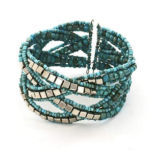 Java Cross-weave Bead and Metal Bracelet - Turquoise