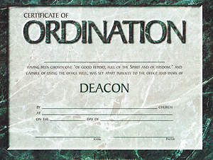 Certificate Ordination of Deacon Package of 6
