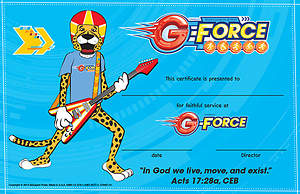 Vacation Bible School (VBS) 2015 G-Force Leader Recognition Certificates (Pkg of 10)