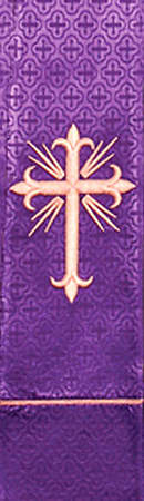 Gommo Parament Series Purple Stole with Greek Cross with Light Rays