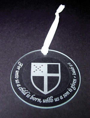 Crystal Christmas Ornament with Etched Episcopal Shield