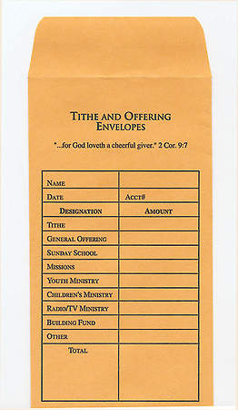 Envelope Tithe and Offering Heavy Buff Color, Package of 100