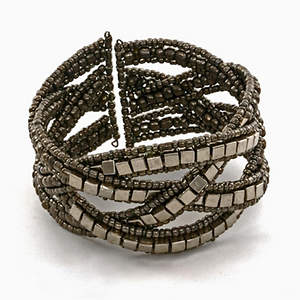 Java Cross-weave Bead and Metal Bracelet - Platinum