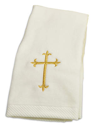 CEREMONIAL TOWEL WITH GOLD CROSS