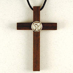 Wooden Cross with Pewter Disciples of Christ Logo