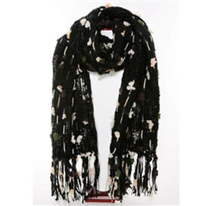 Thai Cozy Scarf - Black with Olive and White Accents