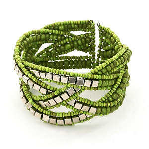 Java Cross-weave Bead and Metal Bracelet - Lime