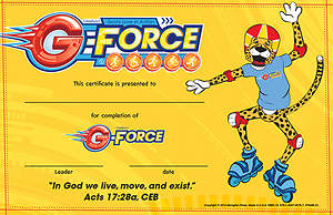 Vacation Bible School (VBS) 2015 G-Force Student Certificates (Pkg of 50)