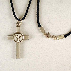 Cast Pewter Cross with Disciples of Christ Logo