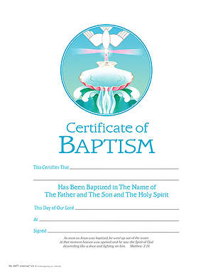 Baptism Certificate Pack of 25