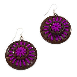 Thai Triple Coconut Earrings - Purple