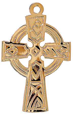 Gold Celtic Cross Pendant with 30