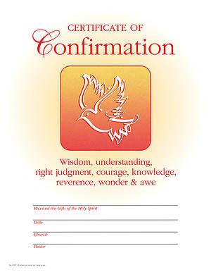 Certificate of Confirmation Pack of 25