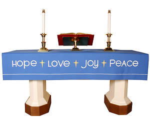 Vision Series Blue Altar Frontal with Hope, Love, Peace, Joy
