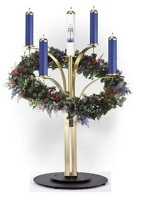 Contemporary Advent Wreath with Satin Solid Brass Arms