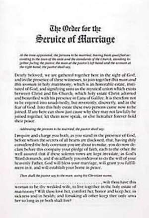 Traditional Marriage Service Bulletin Insert (Package of 6)