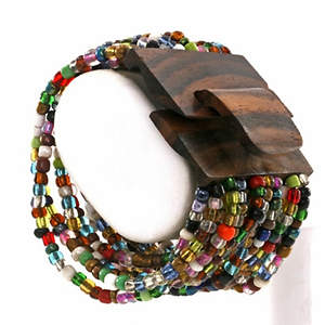 Java Bead Cuff Bracelet - Wood Multi-color
