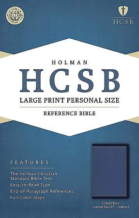 HCSB Large Print Personal Size Bible, Cobalt Blue Leathertouch, Indexed