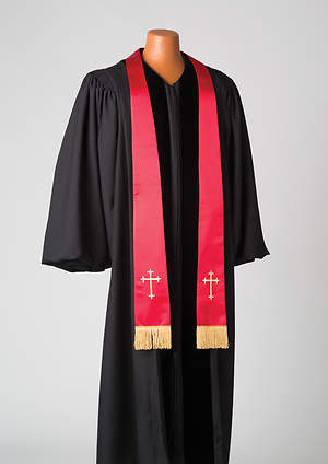 Satin Red Latin Cross Stole