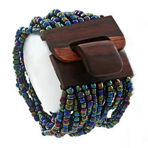 Java Bead Cuff Bracelet -Wood Platinum