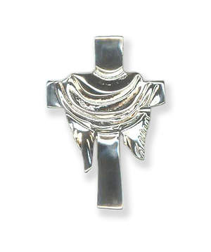 Silver Cross with Pall Lapel Pin