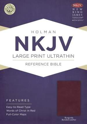 NKJV Large Print Ultrathin Reference Bible, Burgundy Bonded Leather