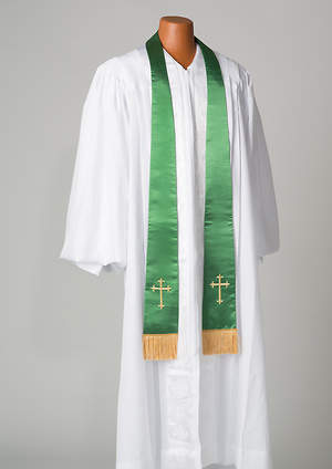 Satin Green Latin Cross Stole