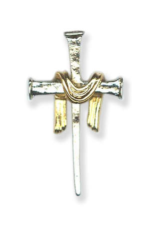 Silver Nail Cross with Gold Pall Lapel Pin